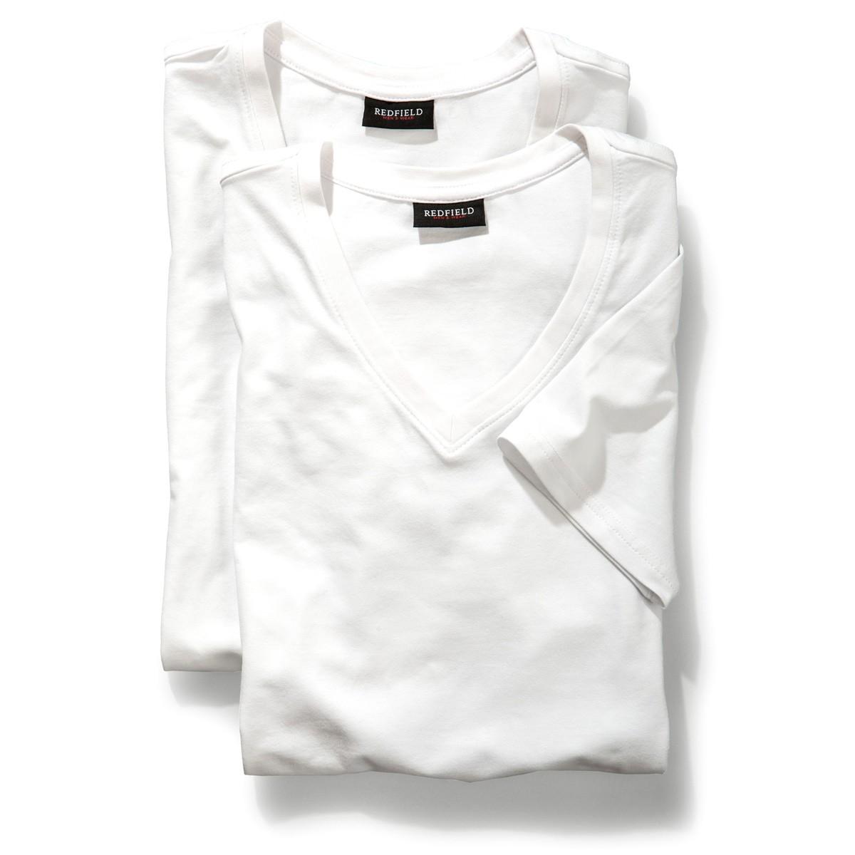 wei es doppelpack t shirt v ausschnitt redfield bergr e. Black Bedroom Furniture Sets. Home Design Ideas