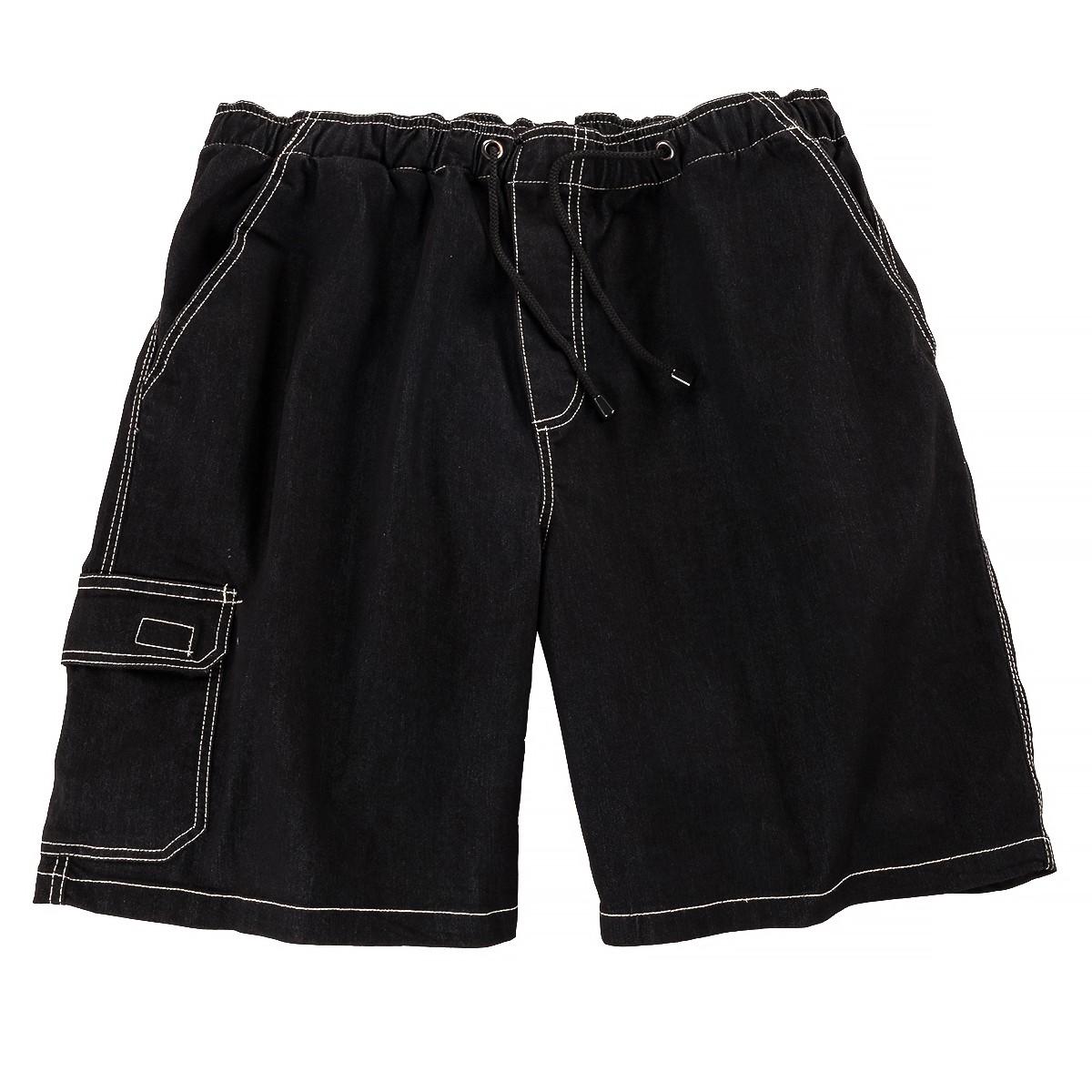 abraxas schwarze jeans bermuda mit gummibund bergr e. Black Bedroom Furniture Sets. Home Design Ideas