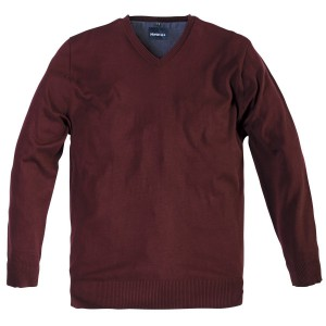 V-Neck bordeaux Strick-Pullover Übergröße North 56°4 by Allsize