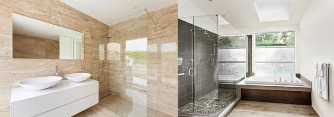 Modernes Badeyimmer mit Sandstein Fliesen